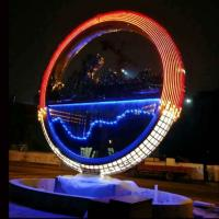China Large metal stainless steel ring sculpture project mirror polish & light ,Stainless steel sculpture supplier factory