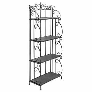 China Folding Black Metal Display Shelf / 4 Tier Storage Organizer Solid Structure factory