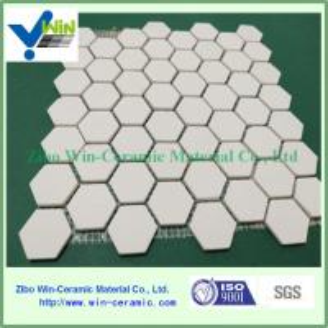 China Win-ceramic aluminia ceramic hexagon and square mosaic sheet/tile factory