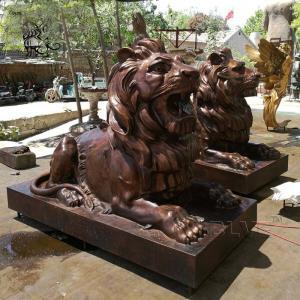 China Bronze Lion Statue Sculpture Garden Art Metal Animal Life Size factory