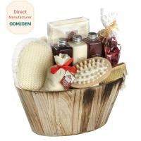 Buy cheap Portable Body Care Bath Gift Set Bamboo Wooden Basket Engraved Logo from Wholesalers