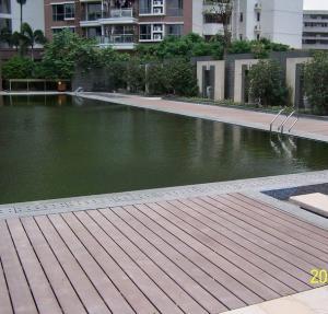 Solid High Strength Wood Plastic Composite Deck Floor / Outdoor Timber Decking Tiles