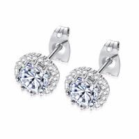China Jewelry Simple Designs Stainless Steel 14K 18K Small Gold Silver Stud Earrings For Women Girls on sale