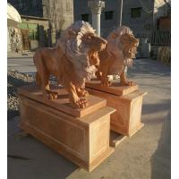 China Garden decoration Stone walking lions pink marble animal sculpture,stone carving supplier factory