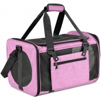 China Black Pink Dog Travel Crate Airline Approved , S-L Carrier Cage For Dog factory