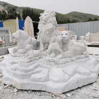 China Marble Lion Statues Lions Family Sculpture White Natural Stone Hand Carved factory