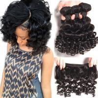 China Brazilian Bouncy Curly Hair Bundles Human Hair Weave Remy Hair Extensions Natural Color factory