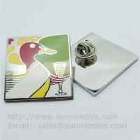 China Cloisonne pin badge with butterfly clutch, copper Cloisonne lapel pin factory China on sale
