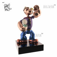 China Life Size Jeff Koons Sculpture Mirror Polished Stainless Steel Popeye Cartoon Art factory