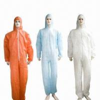 Buy cheap Disposable White SBPP/SMS/SF/Microporous Protective Coveralls, Measures S to 5XL, Weighs 25 to 70g from Wholesalers