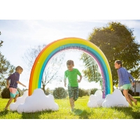 China Summer Home Backyard Waves Inflatable Rainbow Arch Sprinkler For Kids factory