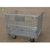 Buy cheap Fold Warehouse Logistics Storage Shelf Cage Galvanized Turnover Box With Wheel from wholesalers
