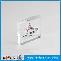 China OEM brand logo solic acrylic block, Lucite/PMMA promotion block stand factory