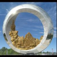 China Mirror polish Large metal round ring stainless steel sculpture project,Stainless steel sculpture supplier factory