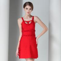 Claire Women Summer Red Hollow Out Bandage Dress 2016 Sexy Party HL Bandage Dresses Rayon Culb Dress Runway DC1045