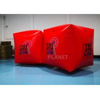 China Red PVC Tarpaulin 1.5M Inflatable Water Floating Buoy  Cube / Square Shape With Logo factory