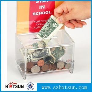 China Acrylic Clear Donation / Ballot Box with Lock and Sign Holder Transparent Acrylic Ballot Box factory
