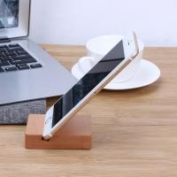 Solid Wood Desk Organizer For Phone / Pad , Wooden Phone Stand Cubic