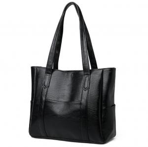 China Black Classic Zipper Ladies Tote Bags With PU Leather factory