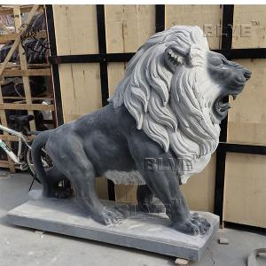 China Black Marble Lion Sculpture Large Stone Modern Garden Decoration factory