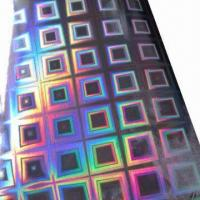 China Hologram Film, Made of BOPP/PET, 12 to 50micron Thickness, Below 1000mm Width, Used for Packing/Gift factory
