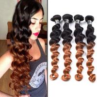 China Pre-colored Ombre Human Hair Weave Loose Wave 1b/30 Peruvian Ombre Hair Extensions factory