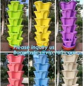 China strawberry vertical stackable planter plastic garden pots flower pot,PP material Mini plastic succulent pot for home gar factory