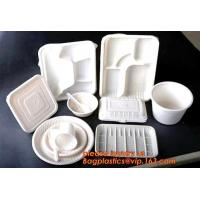 China biodegradable corn starch plastic round food tray, Eco-friendly corn starch disposable 4 compartment food tray with lid on sale
