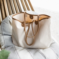 China OEM Cotton Canvas Shoulder Tote Bags With PU Edge factory