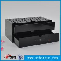 China Custom made acrylic storage box cost-effective black acrylic box with two drawer factory