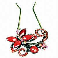 Buy cheap Fashionable beautiful red butterfly hairpins with alloy and color acrylic stone from Wholesalers