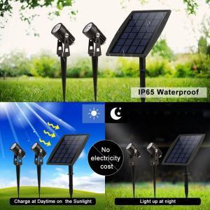 China Solar Led Portable Motion Sensor Light 2 Head Spot For Garden Park Pathway Lighting factory