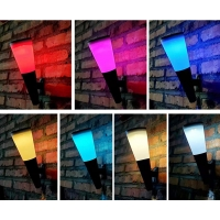 China RGB colors solar led wall lamp motion sensor maual color changing Landscape decorative wall lamp factory