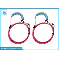 China PVC Coated Pet Tie Out Cable Sturdy Spiral Stake With Keychain / Soft Handgrip factory