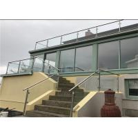 Professional Brushed Stainless Steel Glass Railing , Stainless Steel And Glass Balcony Railings