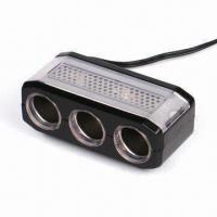 China Car 3-way Socket with Oil Paint Surface, Available in Black and White factory