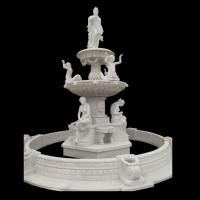 China Garden Freestanding marble stone fountain with pool, china marble sculpture supplier factory