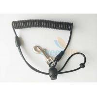 Buy cheap Anti lost Fishing Rod Wrist Lanyard Black TPU Spiral Coil With J Swivel Snap Hook from Wholesalers