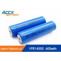 China shaver battery lithium ifr14500 3.2v 600mAh AA rechargeable battery factory