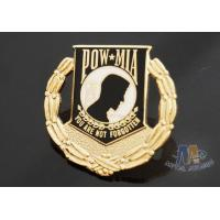Buy cheap Custom Metal Hard Enamel Pow Mia Logo Lapel Pin Bages, Logo Effect Shiny Gold Silver Or Copper Plating from Wholesalers