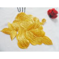 Buy cheap Hot Fix Motif   Gold Wire  Embroidery Flower Applique from wholesalers