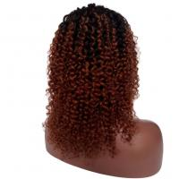China Afro Kinky Curly Brazilian Virgin Human Hair Lace Front Wigs for Women1b/#30 Two-Toned factory