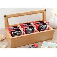 Buy cheap Wood Glass Clear Top Tea Bag Presentation Box  , Coffee Wooden Tea Storage Box from Wholesalers