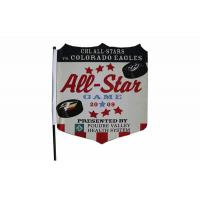 Buy cheap Double Sided Knitted Polyester Fabric Flag Banner Printing Hooks Onto Car Window from Wholesalers