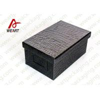 Buy cheap Black Leather Coated  Branded Products Cardboard Gift Boxes With Lids OEM from Wholesalers