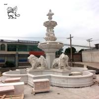 China Marble Lion Water Fountain Statue Large Garden Fountain Outdoor Decoration factory