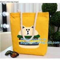Quality Wholesale white color letters series printing rough rope handle cotton canvas fabric foldable tote shopping bag bagplast for sale