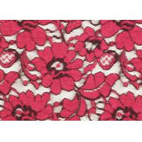 Buy cheap Red Brushed Elastic Lace Fabric Eco Friendly 135cm Width OEM / OMD CY-LQ0001 from Wholesalers