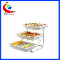 China Ceramics cafeteria showcase Buffet Restaurant Equipment for fruits and vegetable display shelf factory