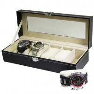 Black Faux Leather 6-Watch Bracelet Display Case
